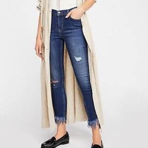 Free People Great Heights Frayed Cropped Jeans, 27